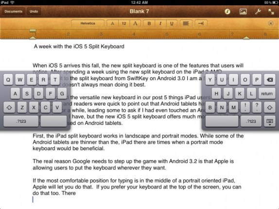 iPad split keyboard in iOS 5