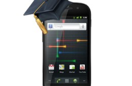 a Nexus S with a university cap on