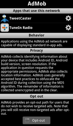 Ad Network Detector Ad Info Screen