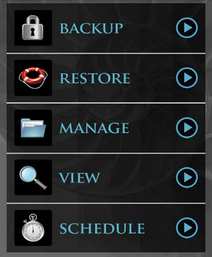 MyBackup Main Screen
