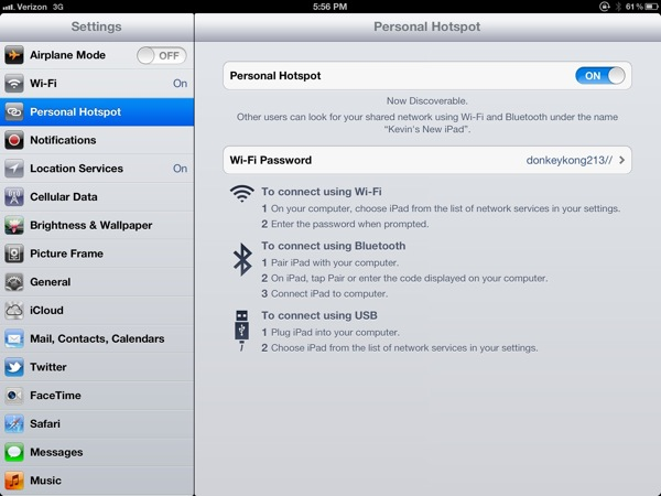 Personal Hotspot in Settings