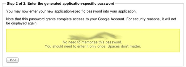 Application specific password 2