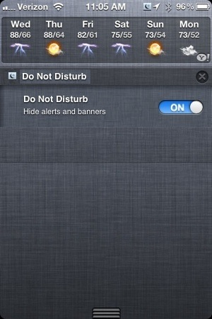 iPhone Do Not Disturb iOS 6 Notification Center Feature
