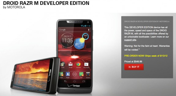 Motorola Droid RAZR M Developer Edition