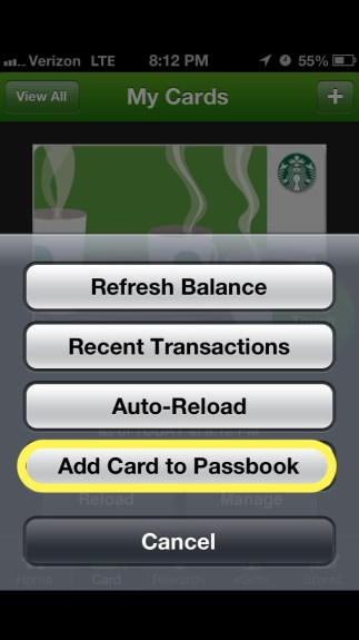 Add card to Passbook Manual