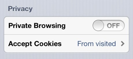 Private browsing iPhone