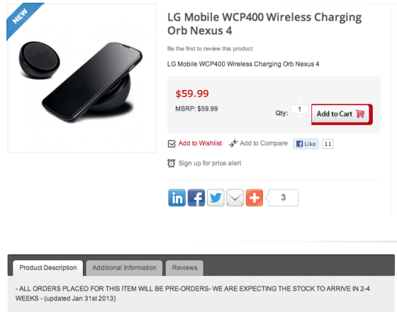 Nexus 4 wireless chargng orb pre-orders start