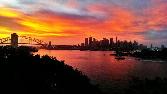 HTC One photo sample of sunrise over the Sydney Harbour.