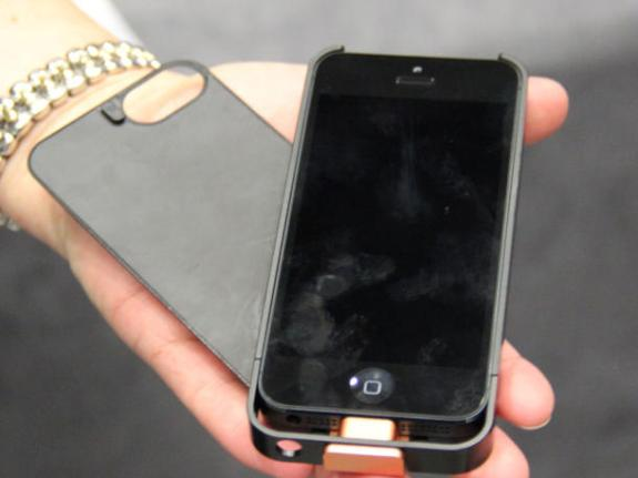 The Powermat iPhone 5 wireless charging case. (CNet)