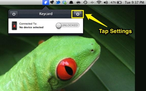 Tap Keycard Settings