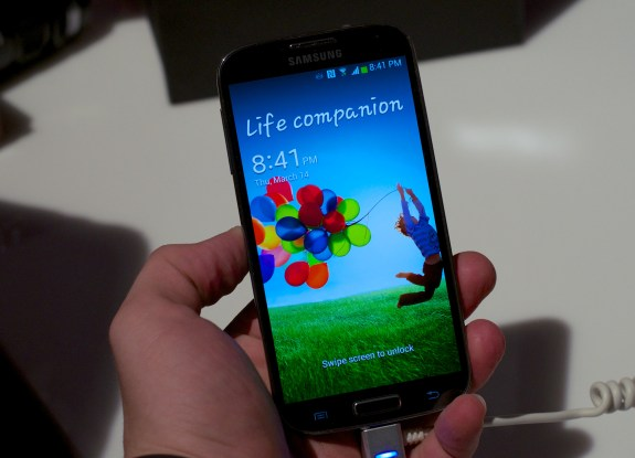 The Samsung Galaxy S4 features a beautiful 5-inch 1080p display, just like the Xperia Z's.