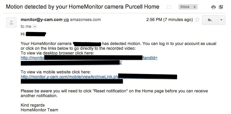 home monitor motion alert email