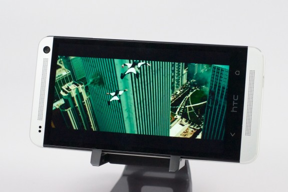 The HTC One features front-facing speakers.