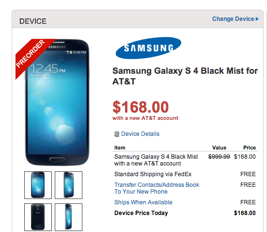 The AT&T Galaxy S4 is cheap through Walmart.