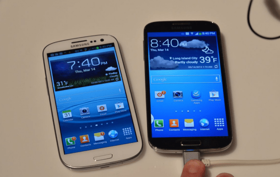 The Galaxy S3 features a smaller display than the Galaxy S4.