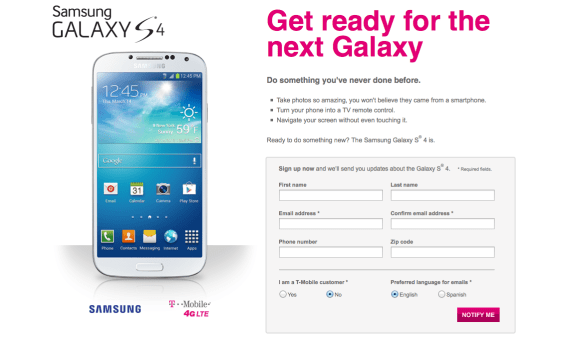 T-Mobile is unpredictable but we think it will offer a Galaxy S4 pre-order.