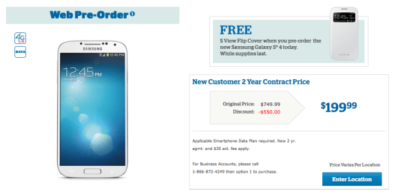 The U.S. Cellular Galaxy S4 is up for pre-order without a release date.