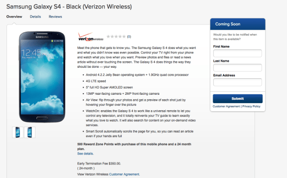 Best Buy says the Verizon Galaxy S4 is coming soon.