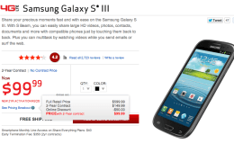 The Verizon Galaxy S3 is $100 less as Verizon prepares for the Samsung Galaxy S4.