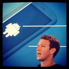 Mark Zuckerberg introducing Facebook Home; photo credit: Instagram.com/chuongvision