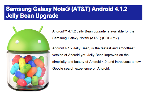 The AT&T Galaxy Note Android 4.1 Jelly Bean is available right now.
