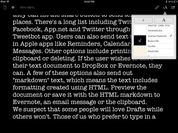 drafts for ipad user interface tweaks