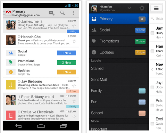A sneak peak at the new Gmail for Android and iPhone.