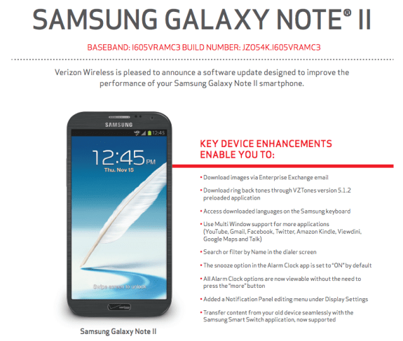 The Verizon Galaxy Note 2 Android 4.1.2 update is rolling out now.