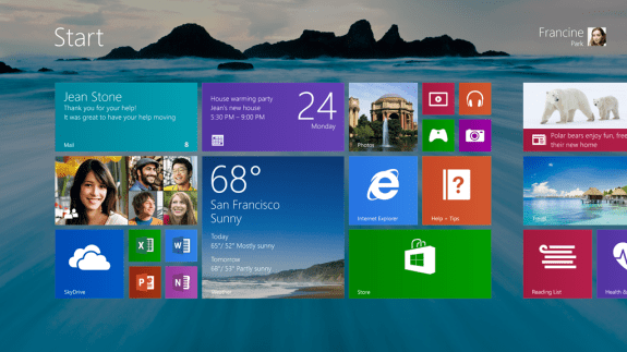 The updated Start Screen in Windows 8.1