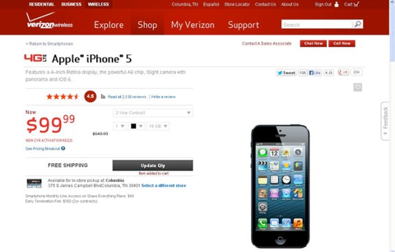 The iPhone 5 dropped briefly at Verizon.