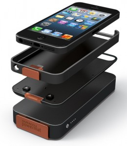 Duracell's iPhone 5 wireless charging kit: You have a wireless charging case that can work as a standalone with the bottom wireless charging mat, or you can even attach a separate battery that will give you extended range, similar to a Mophie setup, but with PMA wireless charging built-in.