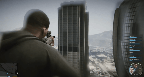 Jump between three main characters in GTA 5.