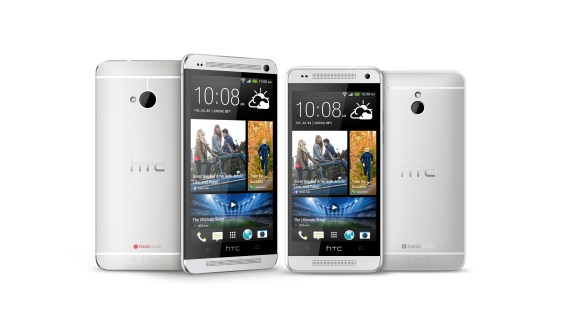 The HTC One next to the HTC One mini.