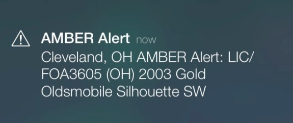 A sample iPhone Amber Alert.