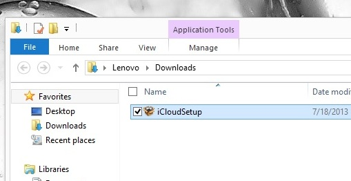 Install the iCloud Control panel for Windows 8.