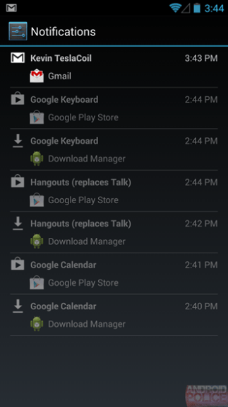 There appear to be some changes to Notifications within Android 4.3