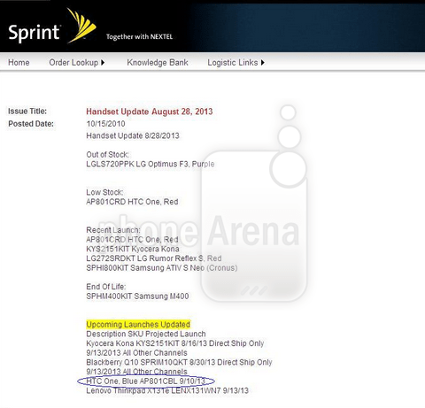 A screenshot of the roadmap sent to Phone Arena.