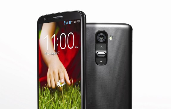 The LG G2 features a plastic back with a volume rocker.