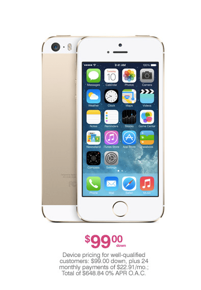 The iPhone 5S will cost $99 down through T-Mobile.
