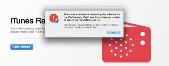 Another error when installing iOS 7 through iTunes.