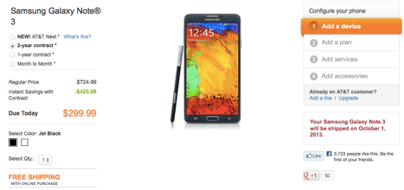 AT&T will ship the Galaxy Note 3 soon.
