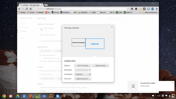 chromeos display settings dialogue box