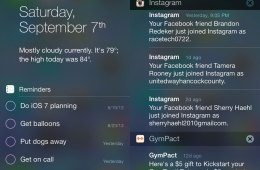 The iOS 7 Notification Center features three tabs.