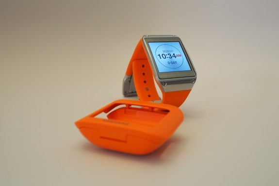 Galaxy Gear with charging cradle.