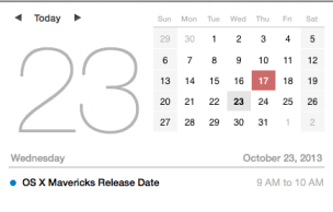 The OS X Mavericks release date is close.