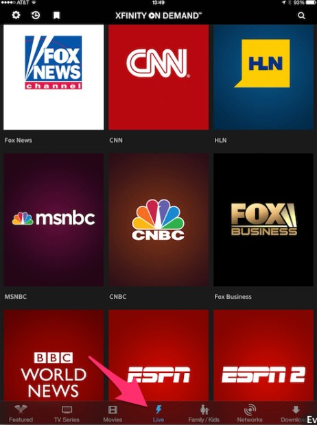 XFinity TV Go App with Live Stream Button