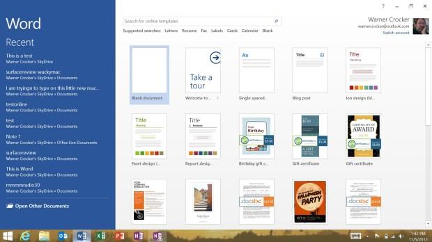 Microsoft Word on Surface 2