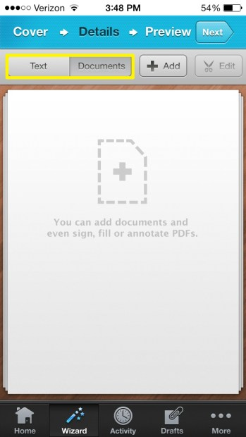 Add documents or text