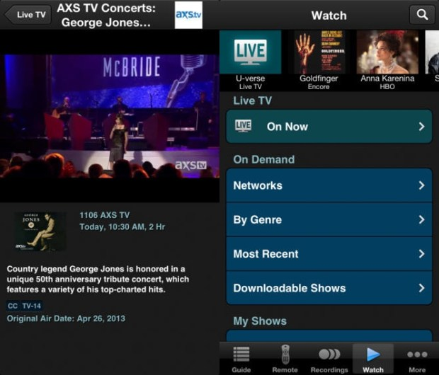 Use the U-verse iPhone app to watch Live TV.