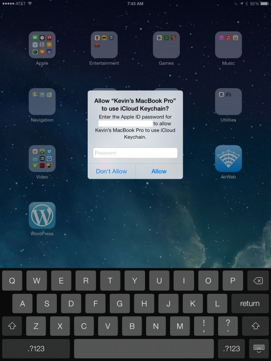 icloud keychain approval on ipad